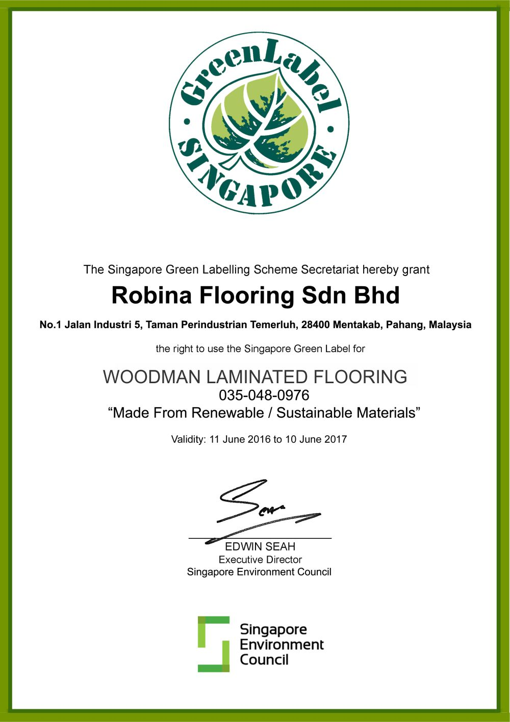 Singapore Green Label Scheme WOODMAN Laminated