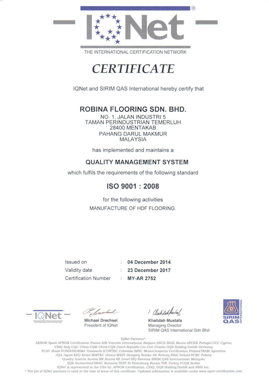 Tiêu chuẩn chất lượng sản phẩm & Môi trường IQNET