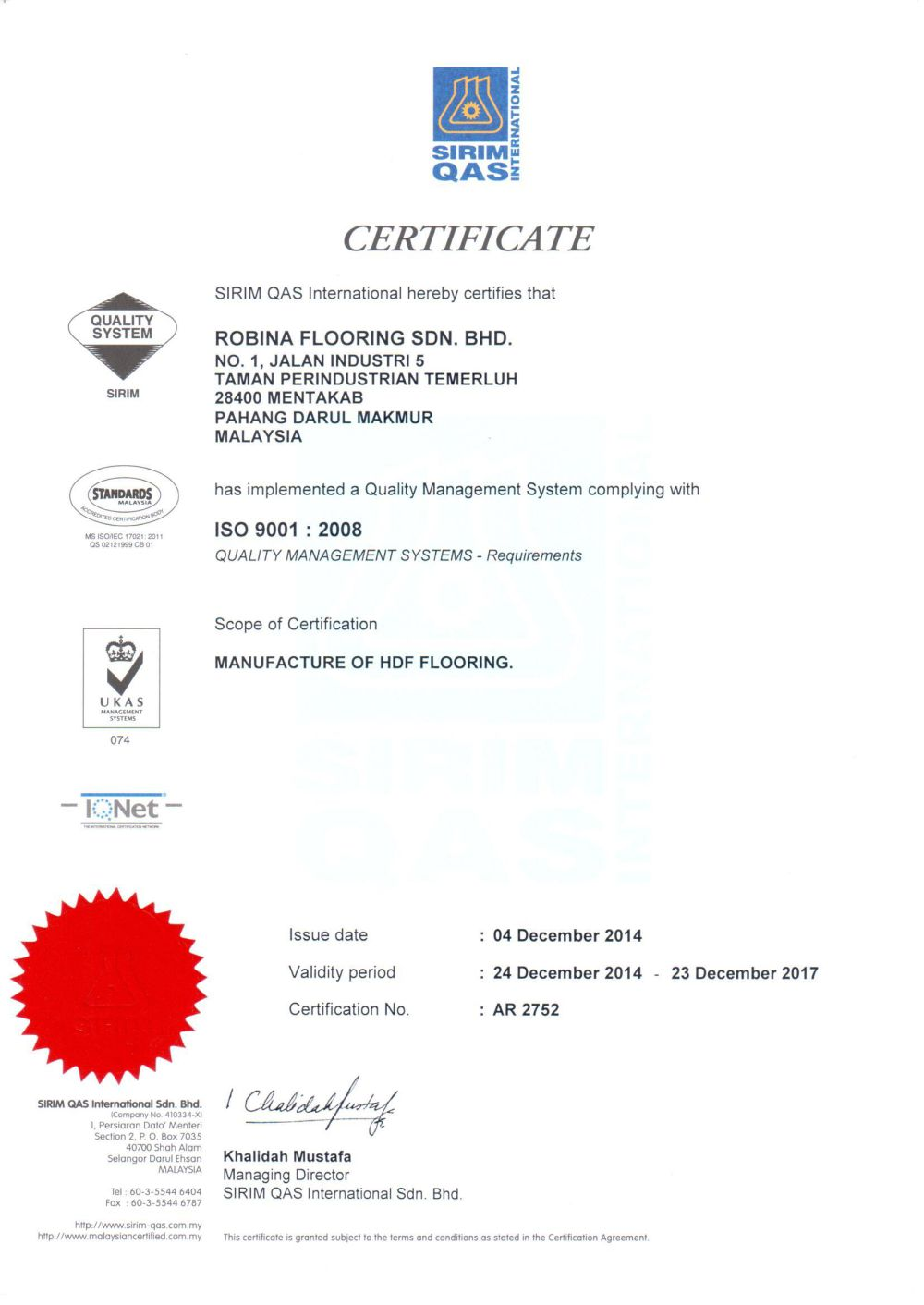 MS ISO 9001 : 2008 certified WOODMAN