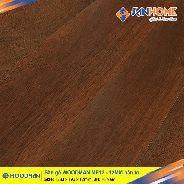Sàn gỗ WOODMAN ME12 - 12mm bản to
