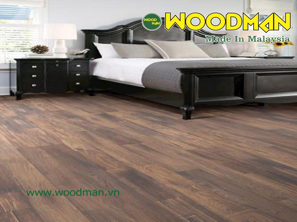 Sàn gỗ WOODMAN 8mm có độ dày vừa phải, phù hợp với những căn phòng có diện tích hẹp như phòng ngủ.