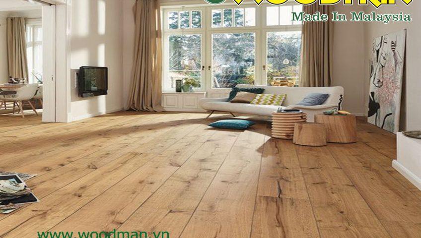 Sàn gỗ Woodman Made in Malaysia được đánh giá là có độ bền màu cao.