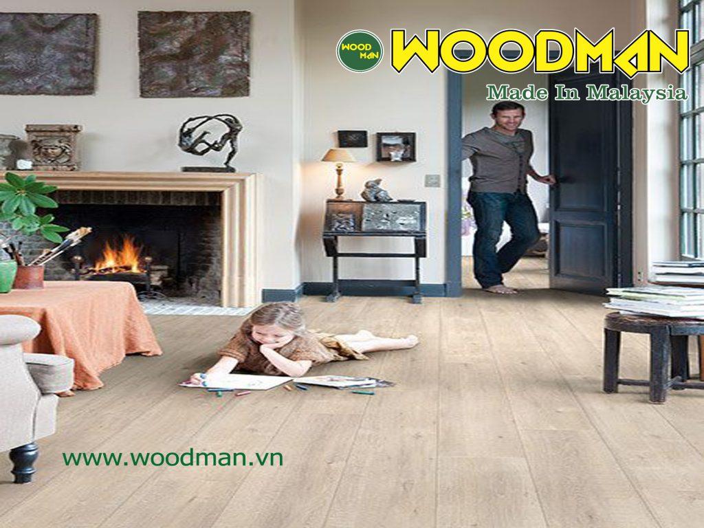 Sàn gỗ Woodman giúp mạch máu lưu thông tốt hơn, tạo cảm giác thoải mái hơn khi tiếp xúc trực tiếp với mặt sàn.