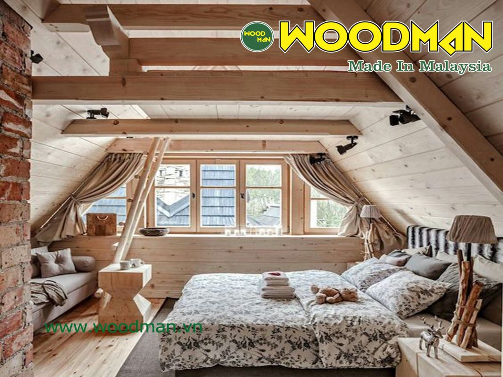 Tầng áp mái tuy nhỏ nhưng có cửa sổ vẫn đảm bảo đầy đủ ánh sáng thiên nhiên.