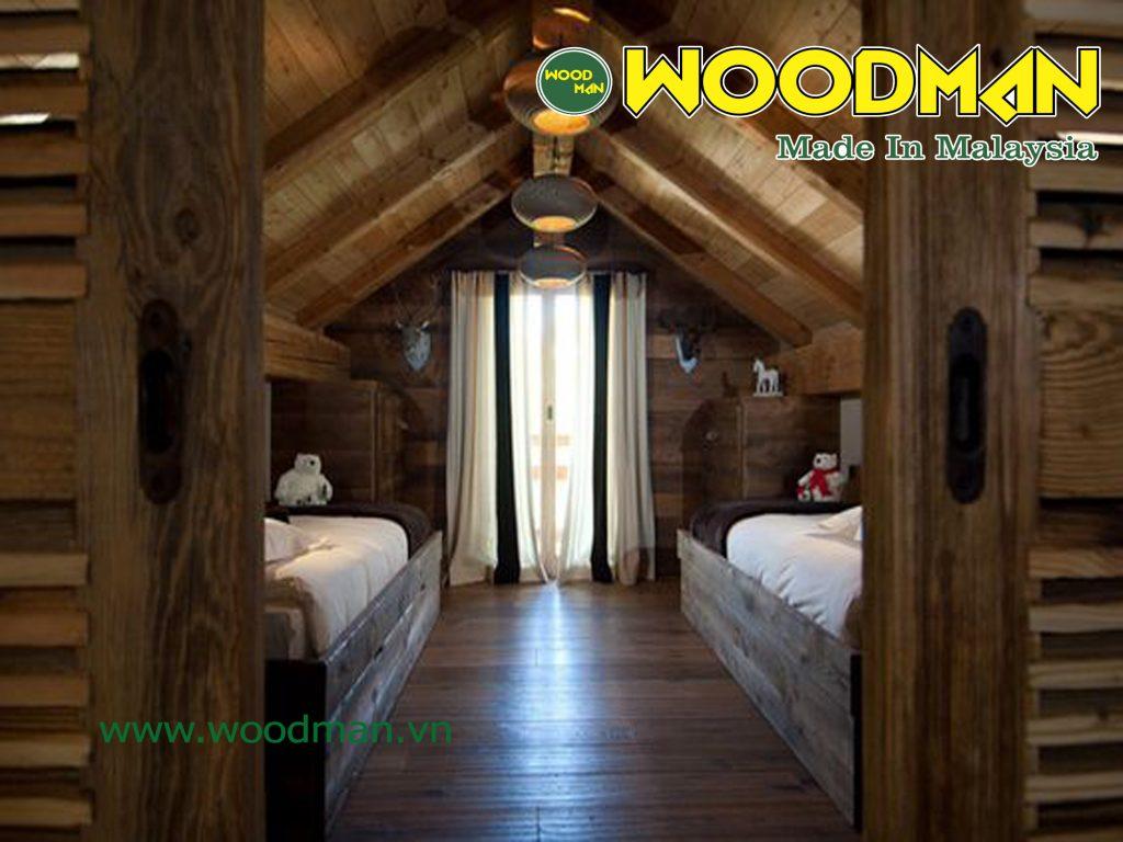 Một thiết kế tầng áp mái hoàn toàn bằng gỗ công nghiệp mang lại cảm giác ấm áp và thoải mái.