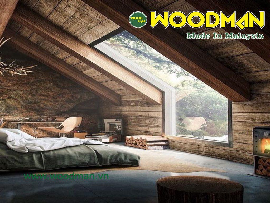 Tầng áp mái được ốp gỗ chống nóng.