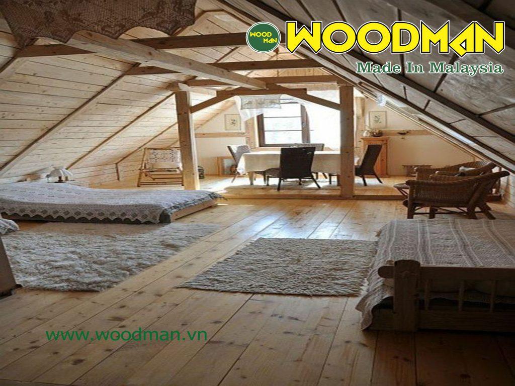 Tầng áp mái thiết kế đơn giản được ốp gỗ công nghiệp hoàn toàn.