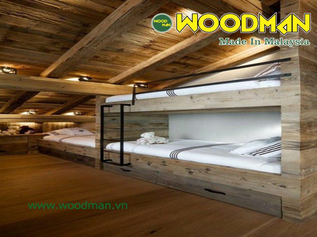 Tầng áp mái tận dụng tối đa diện tích nhỏ hẹp nhờ thiết kế giường tầng nhỏ gọn.