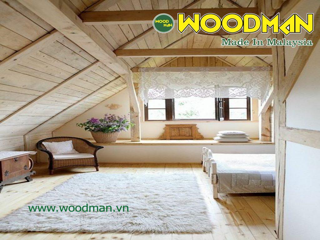 Tầng áp mái nhẹ nhàng với gỗ ốp sàn màu trung tính.