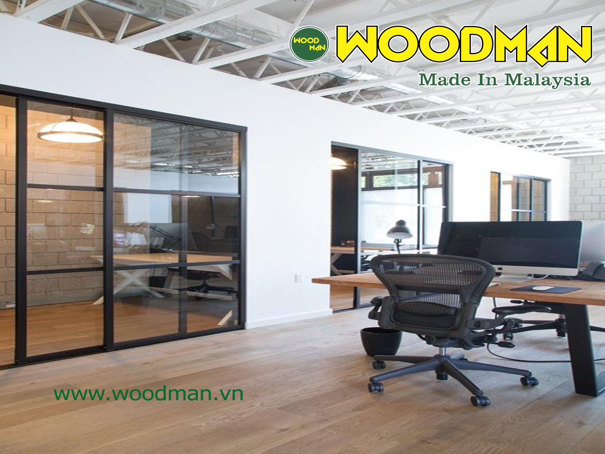 Sàn gỗ Woodman lắp đặt phòng làm việc.