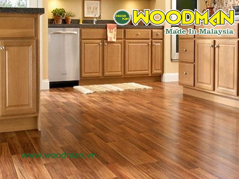 Sàn gỗ công nghiệp lắp đặt phòng bếp
