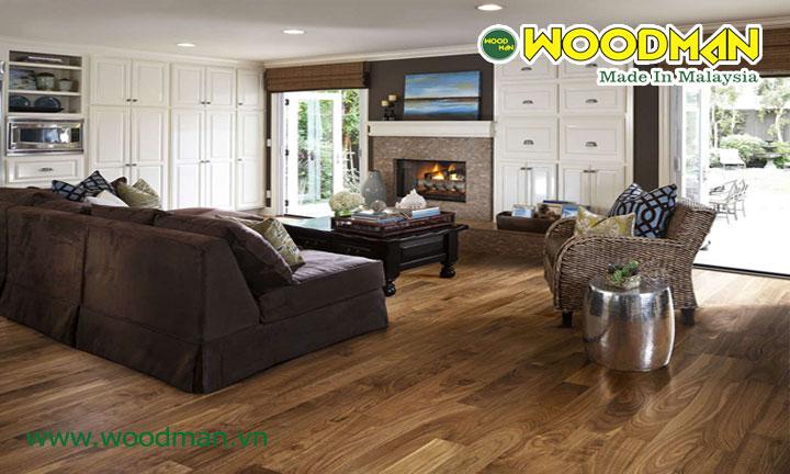 Sàn gỗ Malaysia thương hiệu Woodman lắp đặt phòng khách sang trọng
