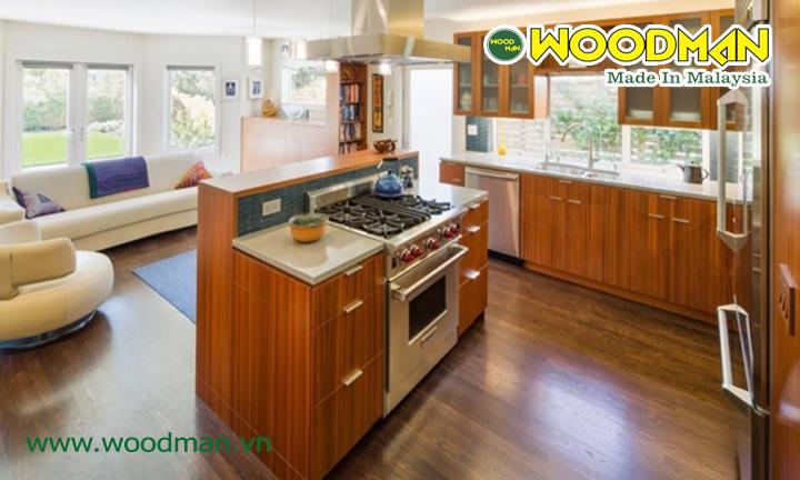 Sàn gỗ công nghiệp chịu nước lắp đặt phòng bếp