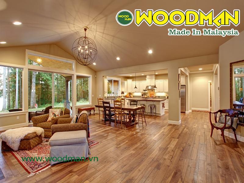 Sàn gỗ  Malaysia lắp đặt phòng khách hiện đại sang trọng
