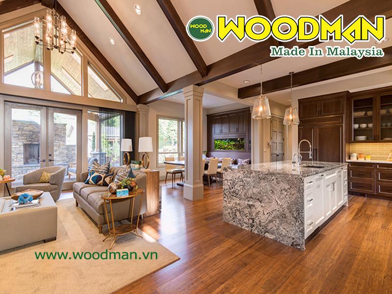 Sàn gỗ Woodman lắp đặt phòng khách hiện đại sang trọng