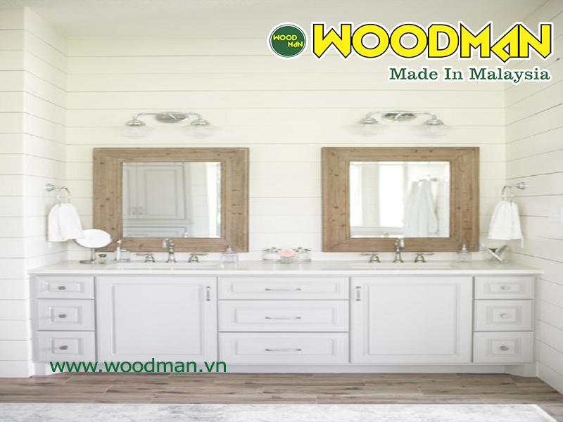 Sàn gỗ Woodman lắp đặt phòng tắm đẹp hiện đại