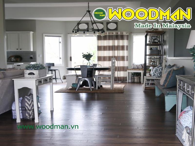 Sàn gỗ Woodman có màu sắc vân gỗ sắc nét sang trọng