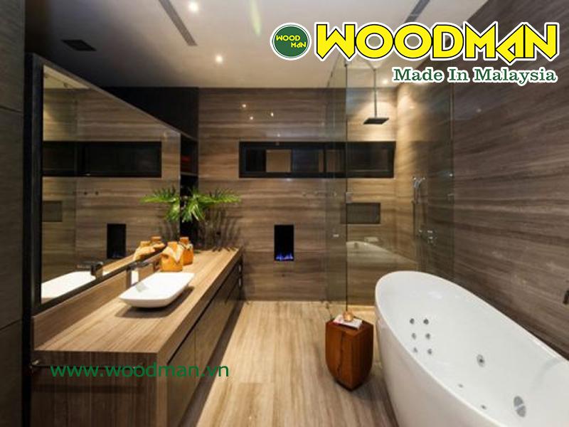 Sàn gỗ Malaysia có khả năng chịu nước tốt được sử dụng để lát sàn phòng tắm