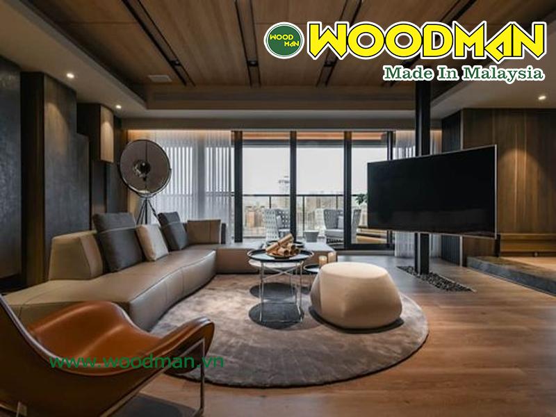 Sàn gỗ Malaysia lắp đặt phòng khách đẹp tự nhiên
