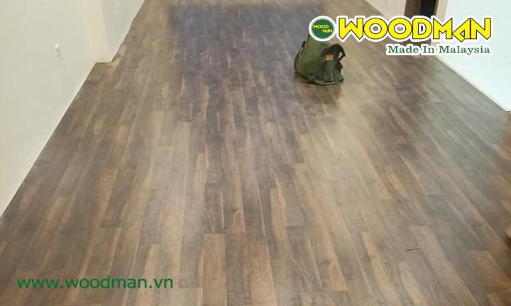 Mặt bằng công trình sau khi lắp đặt sàn gỗ Woodman W25 nhà chị Huệ