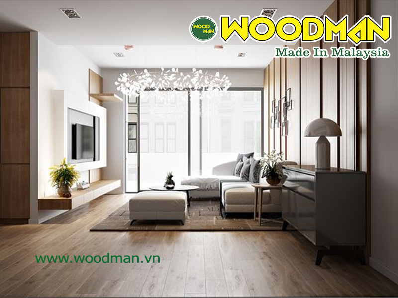 Sàn gỗ công nghiệp lắp đặt phòng khách hiện đại