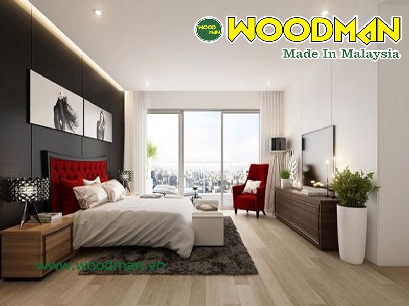 Sàn gỗ mầu sáng lắp đặt phòng ngủ hẹp